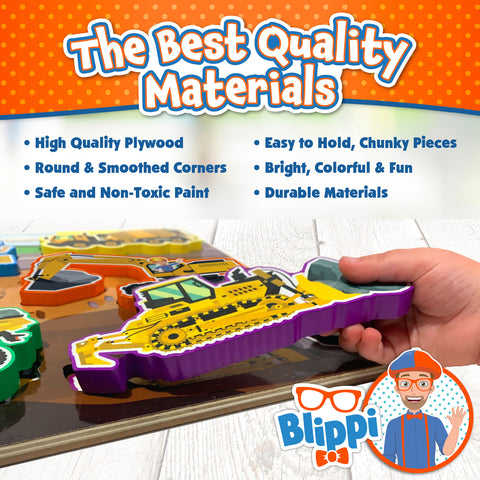 Blippi Chunky Puzzles for Toddlers - 3-in-1 Chunky Puzzle Set for Kids Ages 2+