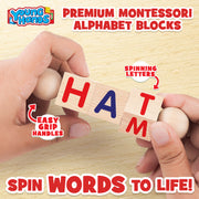 Wooden Alphabet Reading Spinning Blocks for Children