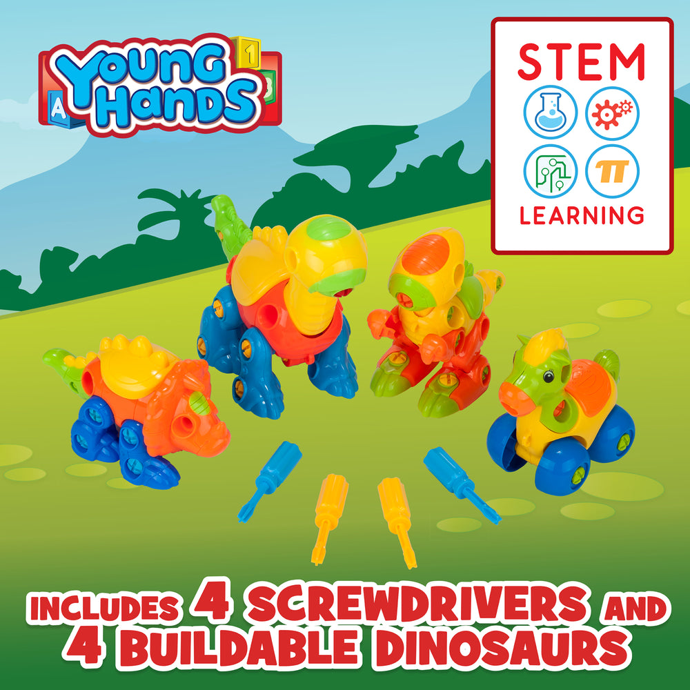 Build & Learn Dinosaur Toys Set w/4 Buildable Dinosaurs & 4 Screwdrivers