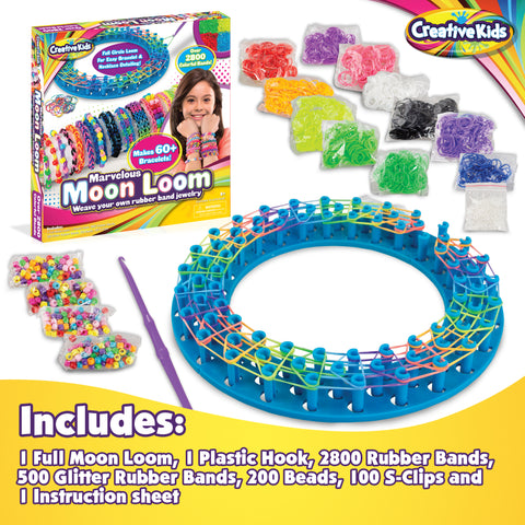 Moon Loom DIY Rubber Band Bracelet Making Craft Kit for Kids