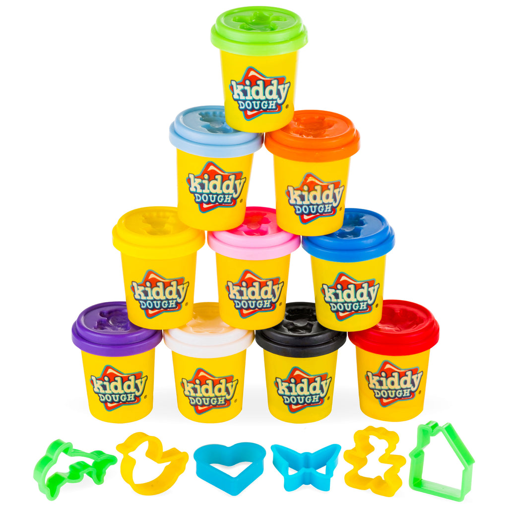 10 Pack of Play Dough w/ 6 BONUS Dough Cutters & Built-In Molding Lids