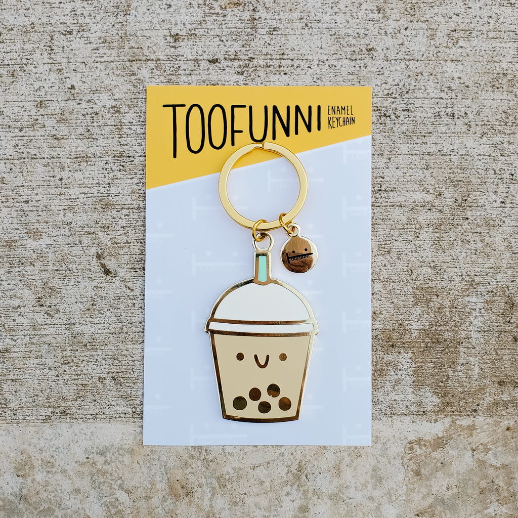 BUBBLE TEA BLUE - ENAMEL KEYCHAIN