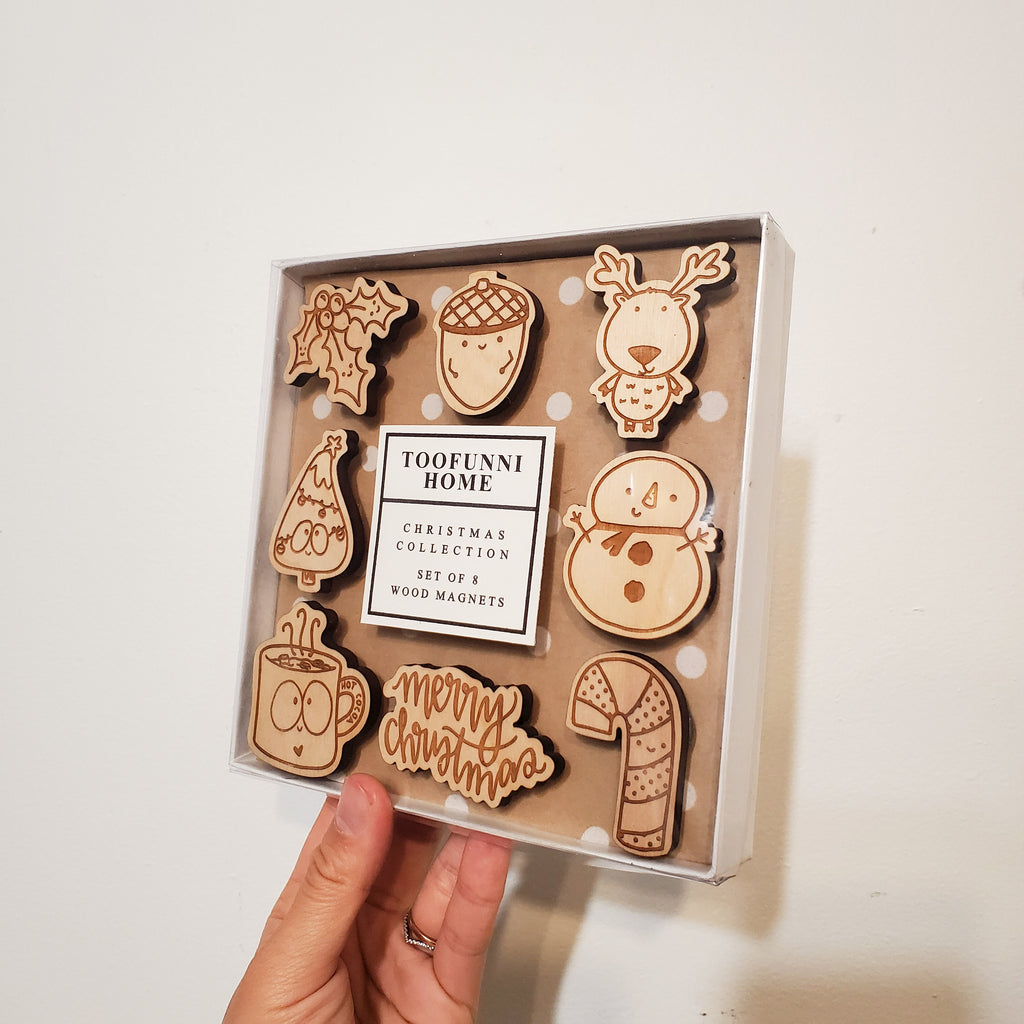 ASSORTED - BOX SET of 8 - CHRISTMAS Wood Laser Cut Magnet