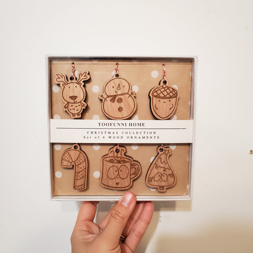 BOX SET of 6 Christmas Wood Ornaments