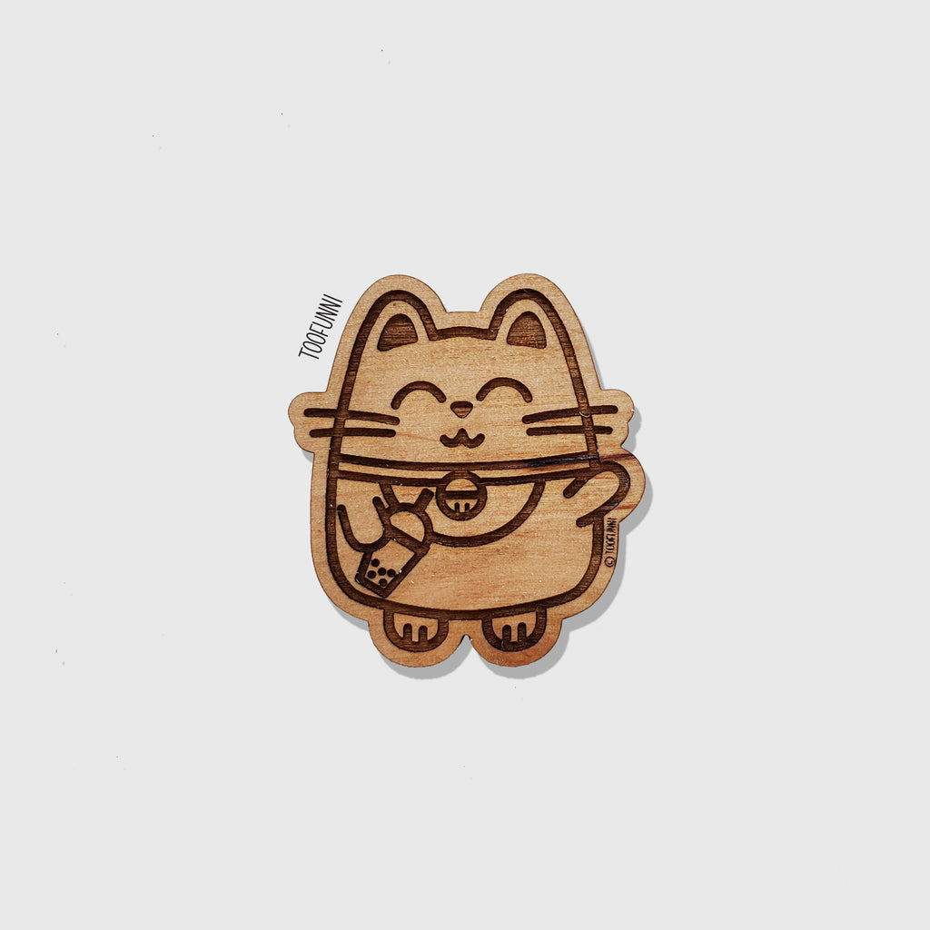 LNY LUCKY CAT - Wood Keychain or Magnet