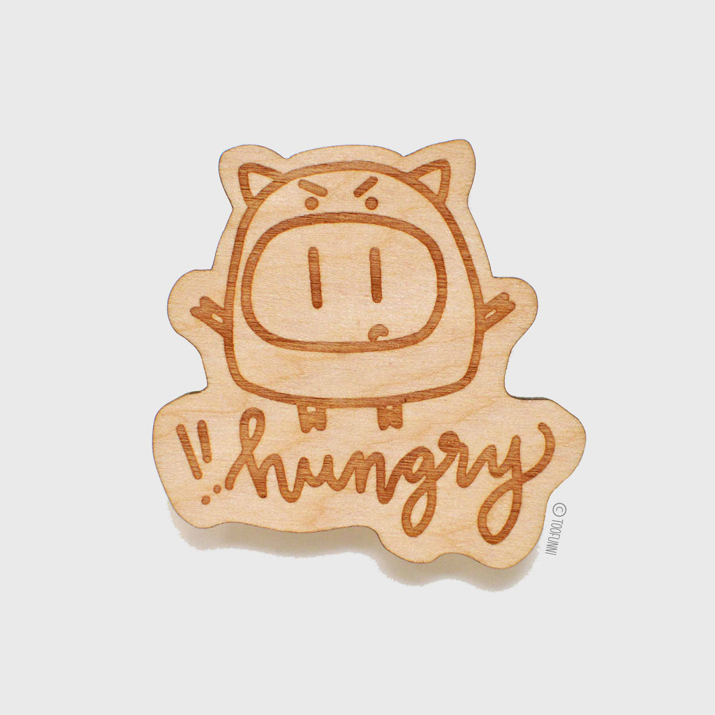 ANGRY PIGGY - Wood Keychain or Magnet