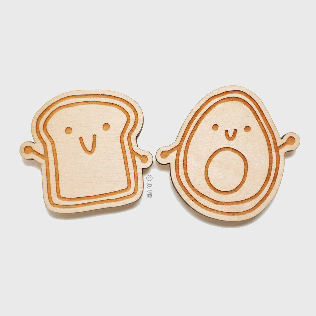 AVOCADO TOAST - Set of 2 Wood Keychain or Magnet