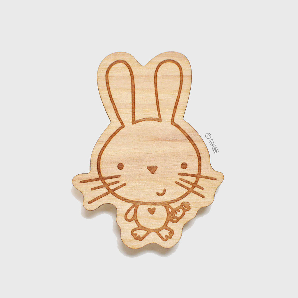 BUNNY - Wood Keychain or Magnet