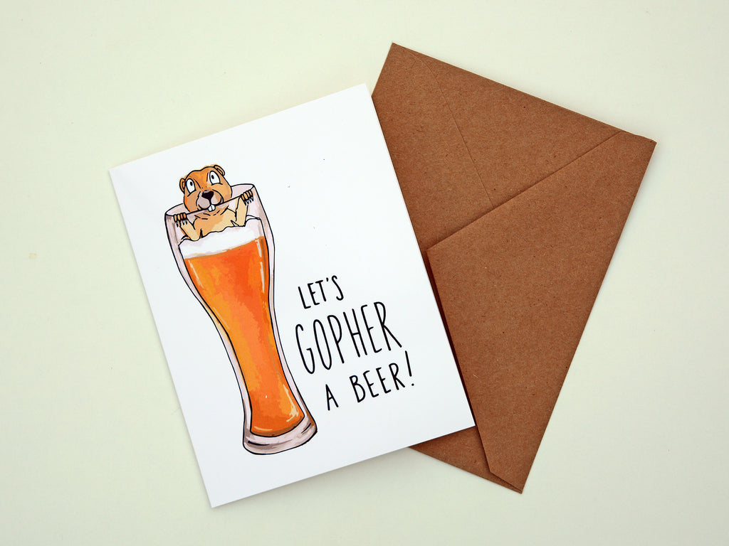 GOPHER A BEER - Card