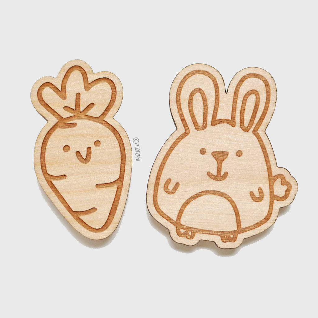 CARROT BUNNY - Set of 2 Wood Keychain or Magnet