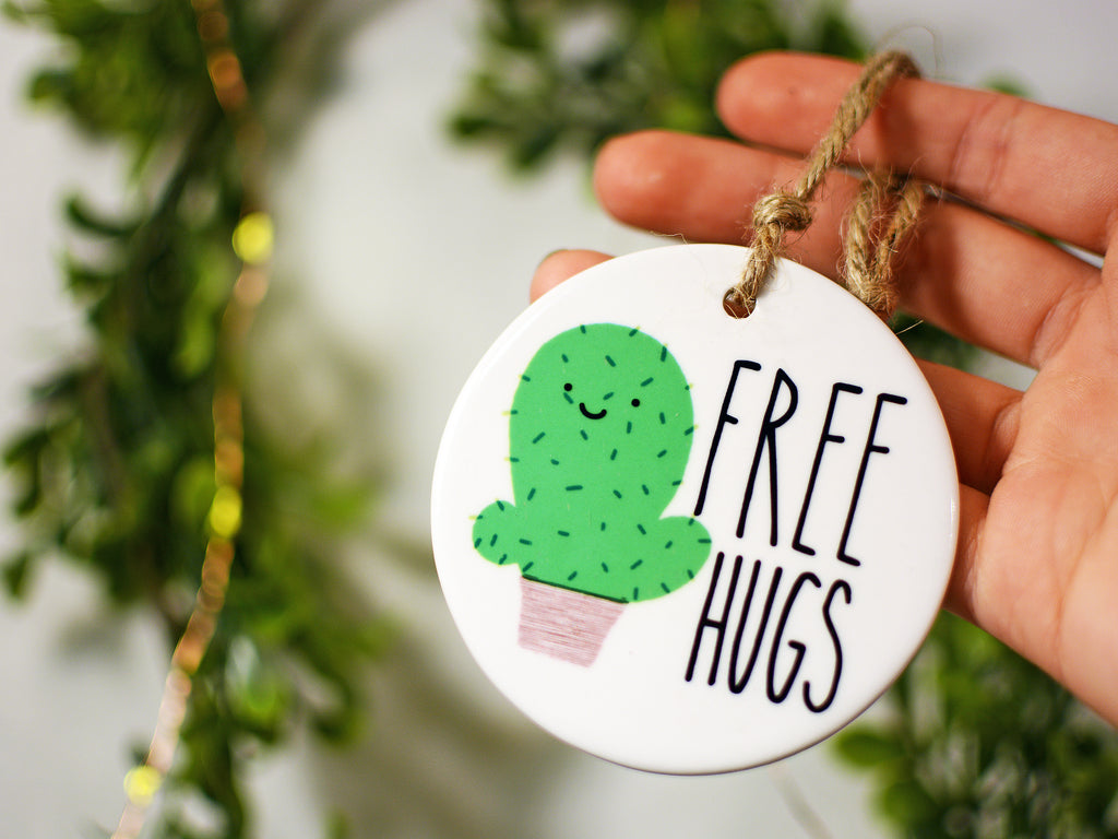 FREE HUGS - Ceramic Ornament