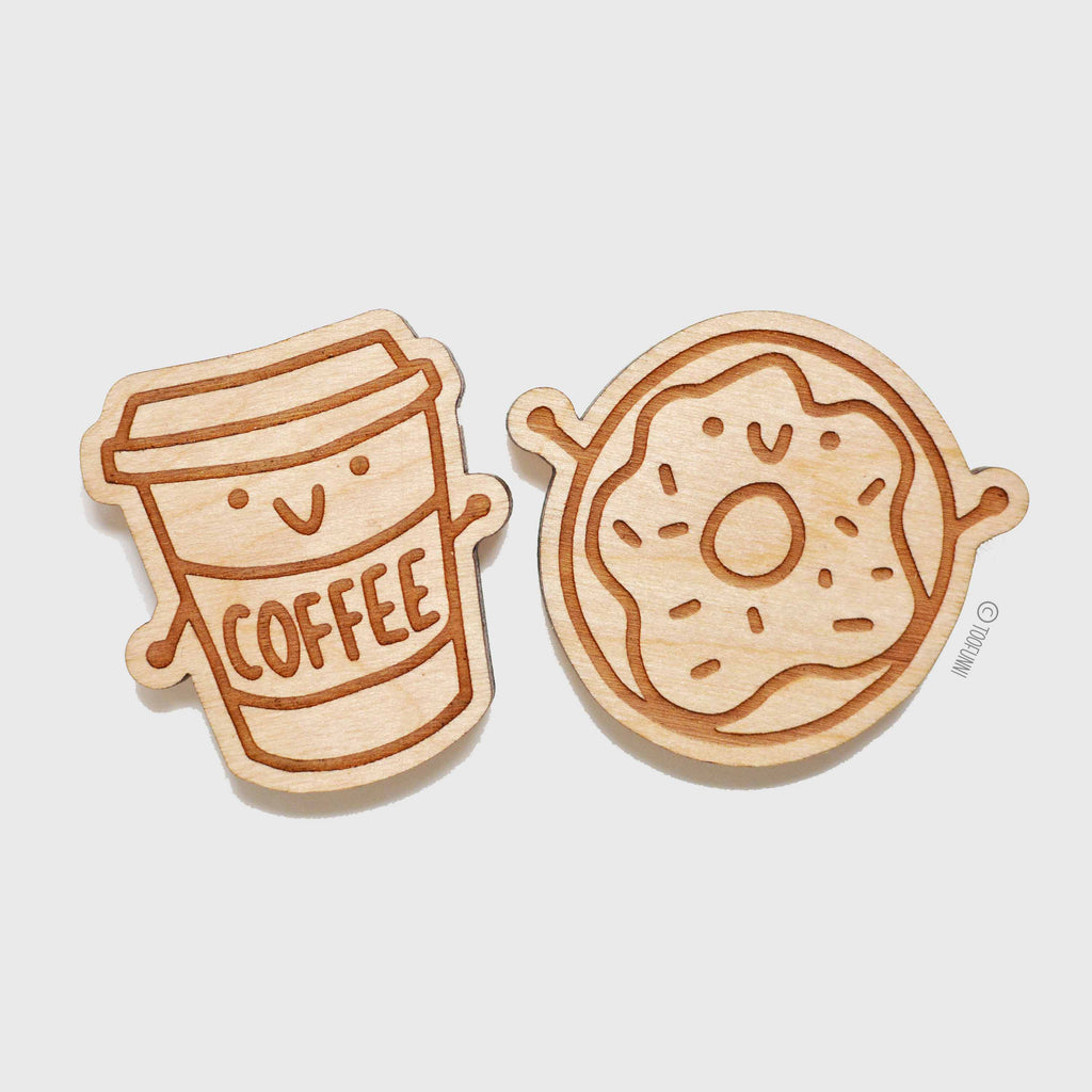 COFFEE DONUTS - Set of 2 Wood Keychain or Magnet