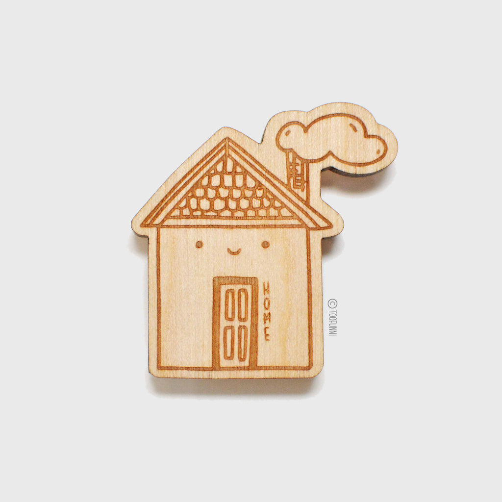 HOME - Wood Keychain or Magnet