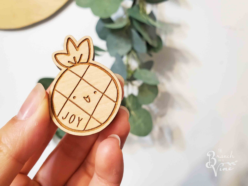 JOY - Wood Laser Cut Keychain | or | Magnet