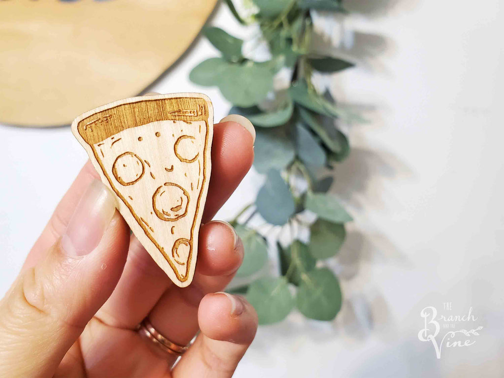 PIZZA - Wood Laser Cut Keychain | or | Magnet