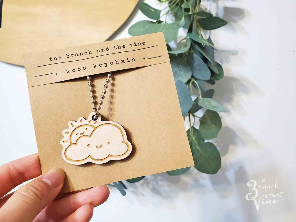 SUN CLOUD - Wood Laser Cut Keychain | or | Magnet