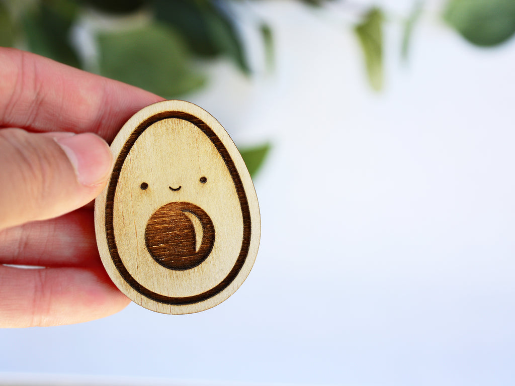AVOCADO - Wood Keychain OR Magnet