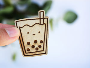 BUBBLE TEA - Wood Laser Cut Keychain | or | Magnet