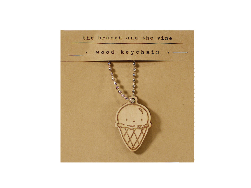 ICE CREAM - Wood Keychain or Magnet