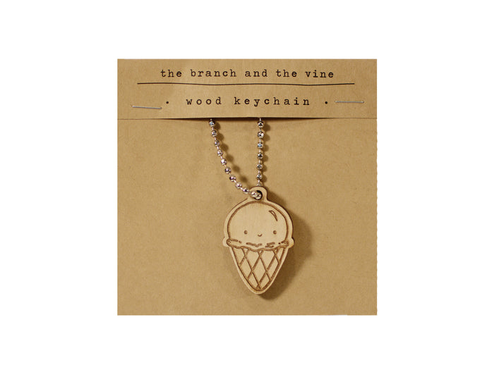 ICE CREAM - Wood Laser Cut Keychain | or | Magnet