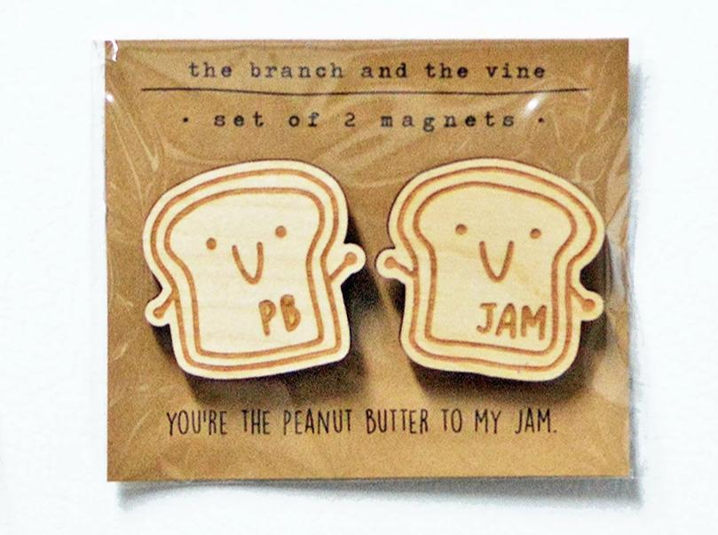 PB & JAM TOAST - Set of 2 Wood Laser Cut Keychain | or | Magnet