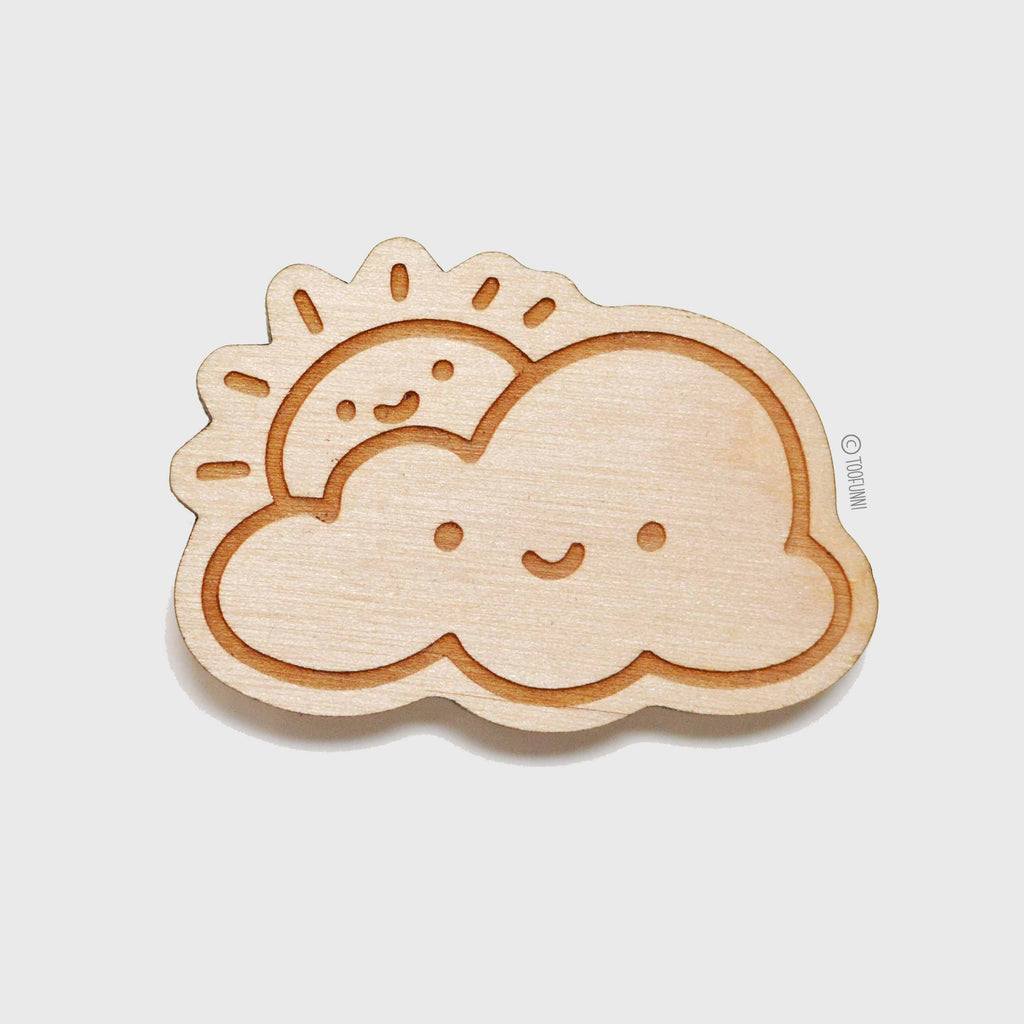 SUN CLOUD - Wood Keychain or Magnet