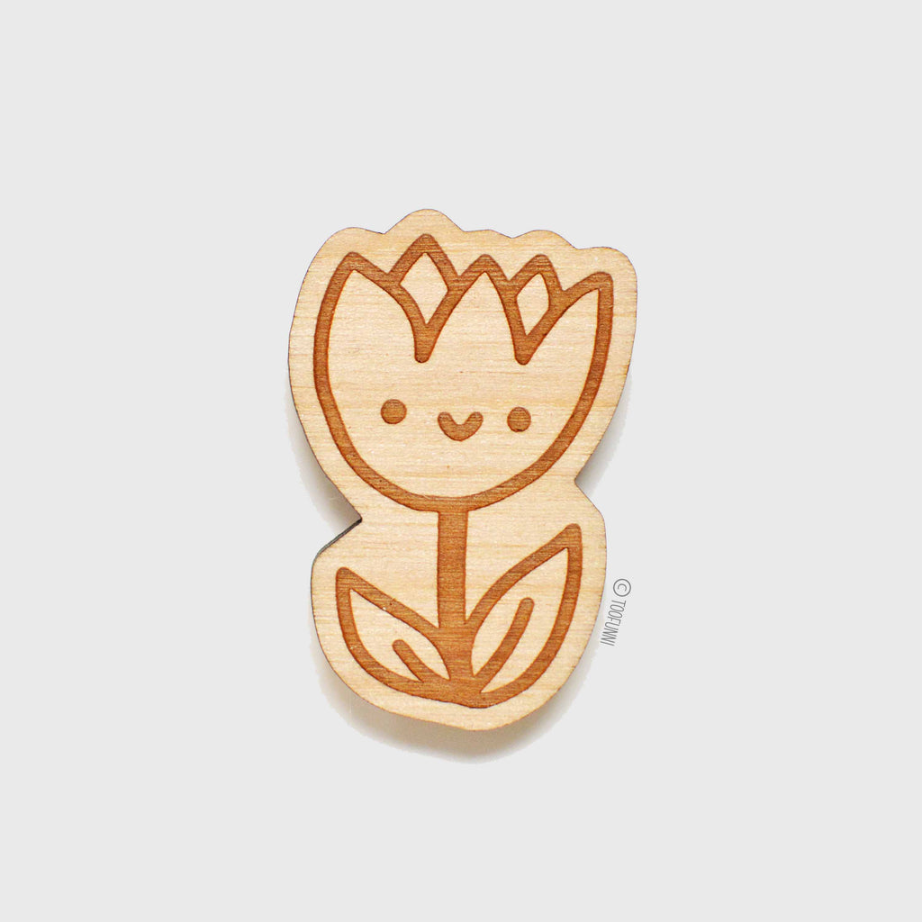 TULIP FLOWER - Wood Keychain or Magnet