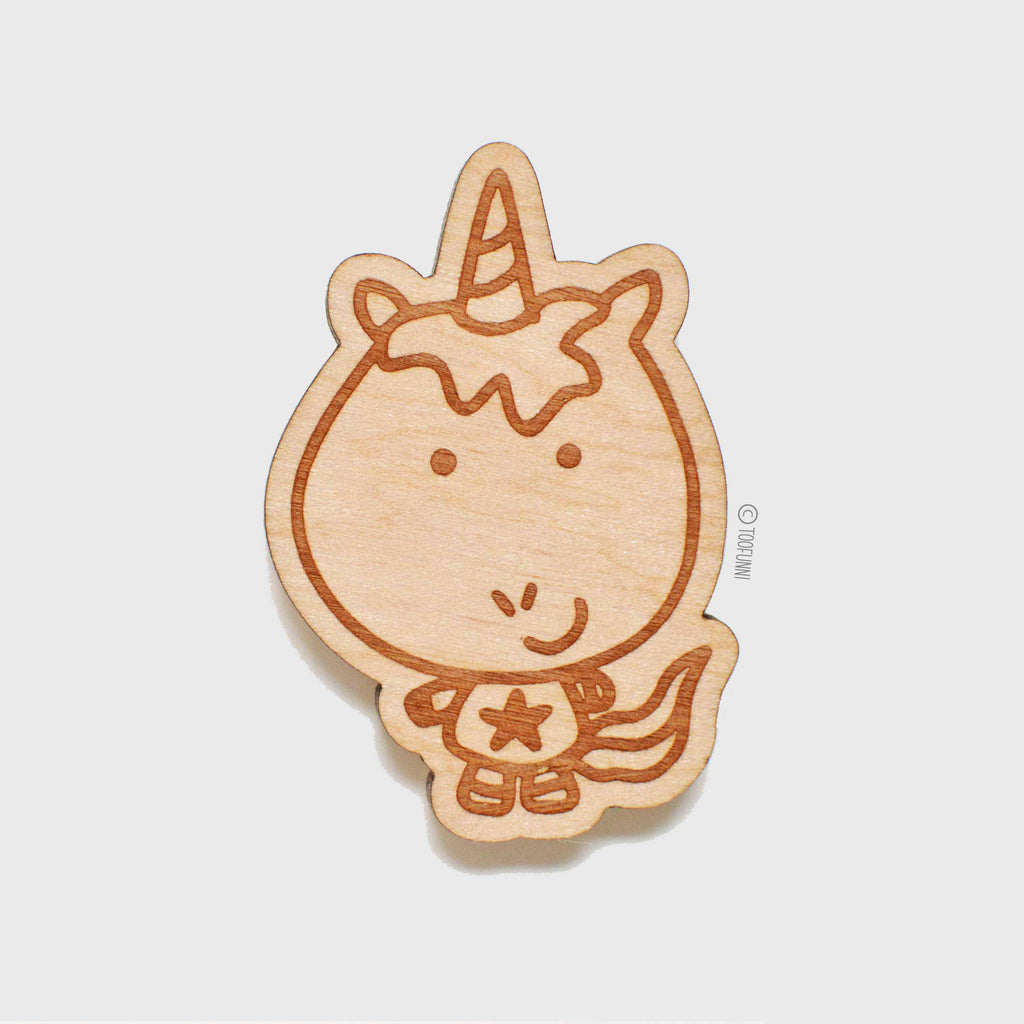 UNICORN CUTE - Wood Laser Cut Keychain | or | Magnet