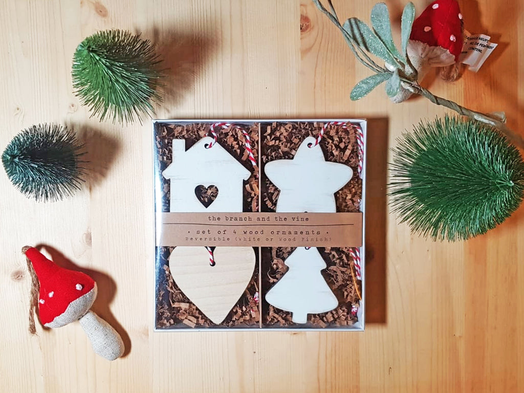 BOX SET of 4 Christmas Wood Ornaments