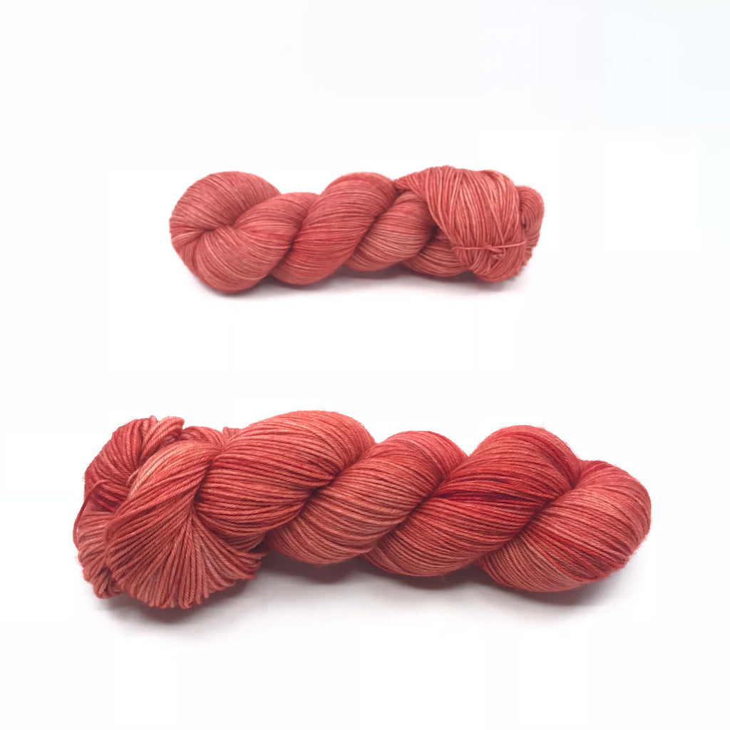 Sun Dried Tomatoes, fingering weight hand dyed yarn