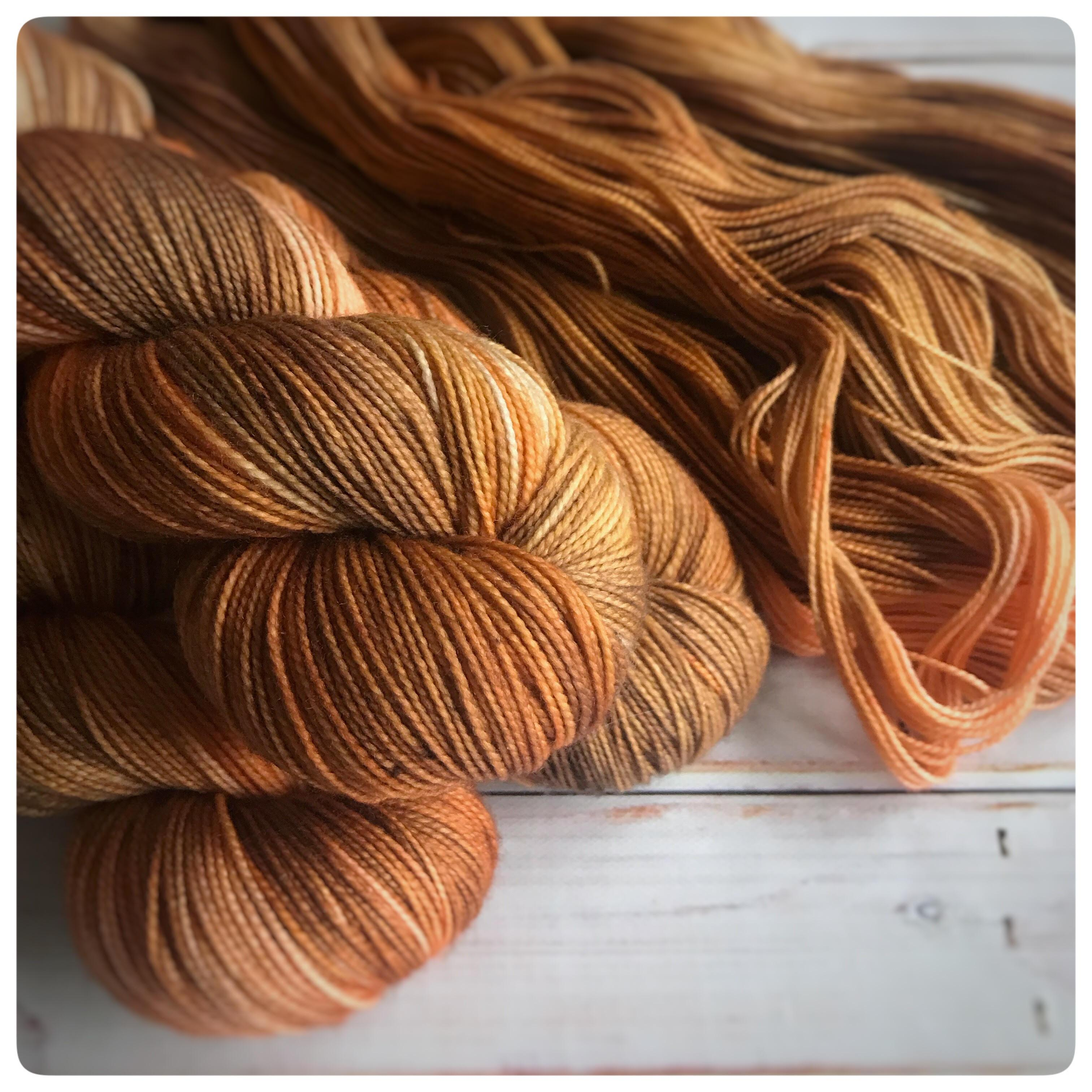 Fingering 24 Carrot, hand dyed yarn