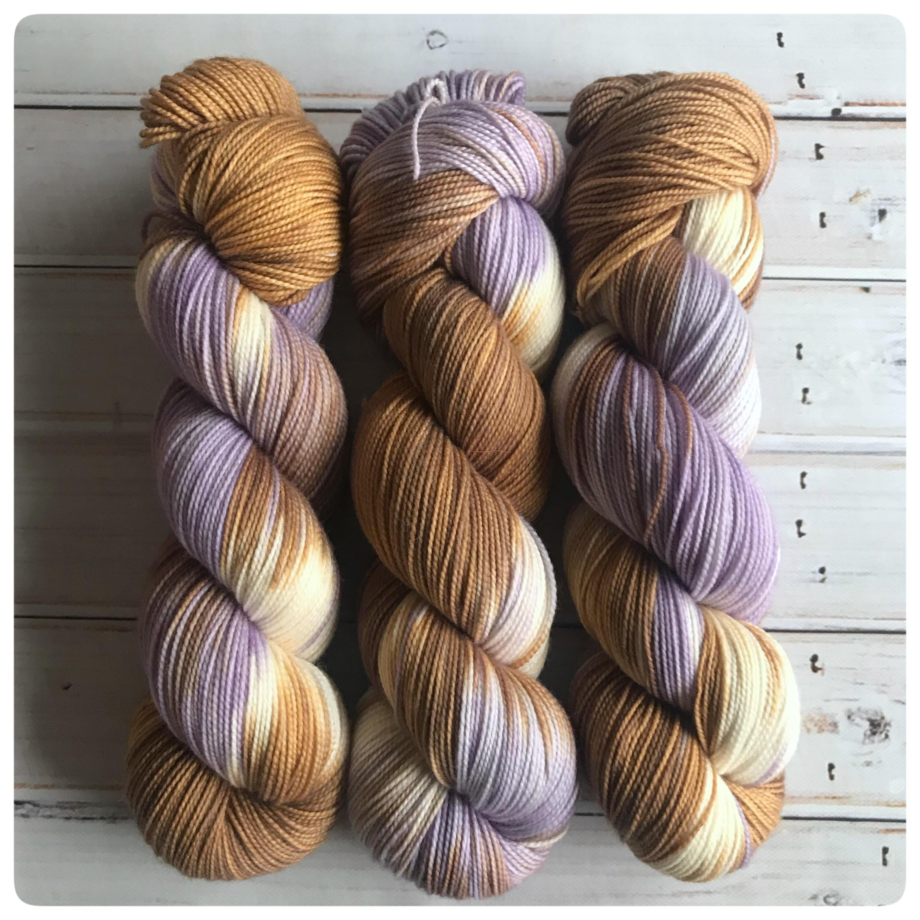 Fingering Lavender Tea, hand dyed yarn