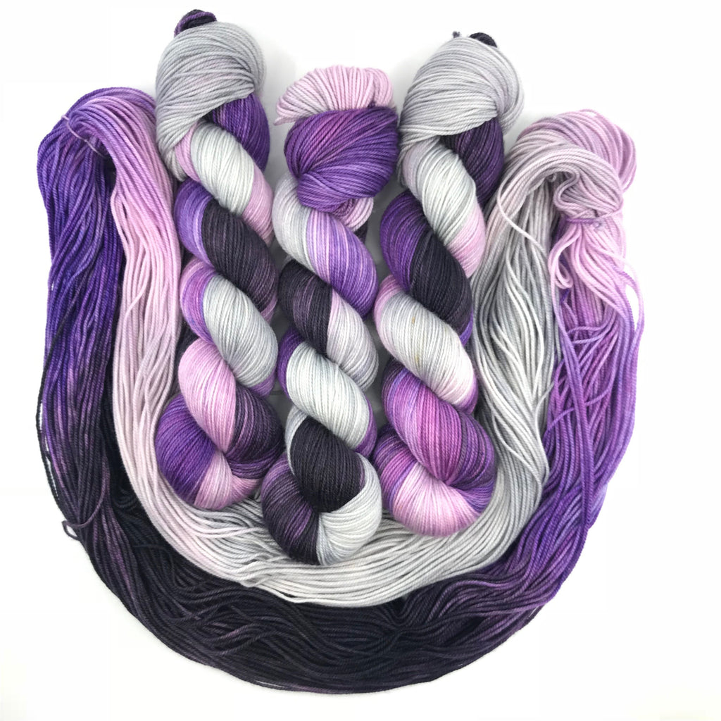 Plum Pudding, sport weight hand dyed yarn
