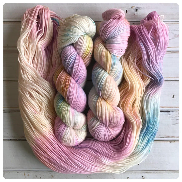 Rainbow Sherbet,  fingering-weight hand dyed yarn