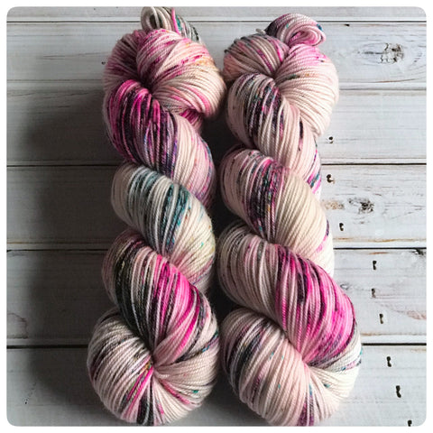 OOAK Pink Speckle, sport-weight hand dyed yarn