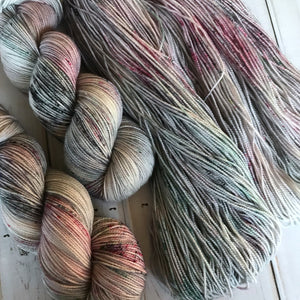 Whimsy, fingering weight hand dyed yarn