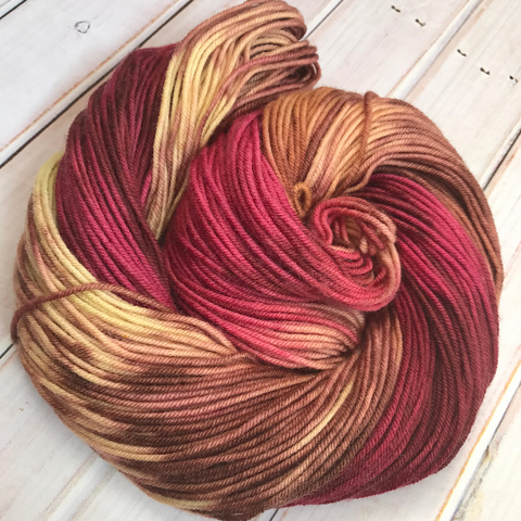 Pomegranate Spice, worsted weight hand dyed yarn