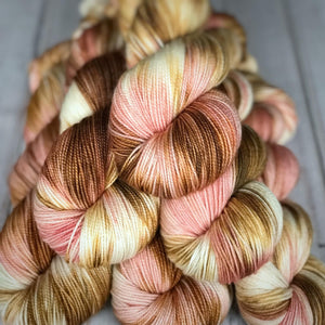 Fingering Rose Petal Tea, hand dyed yarn