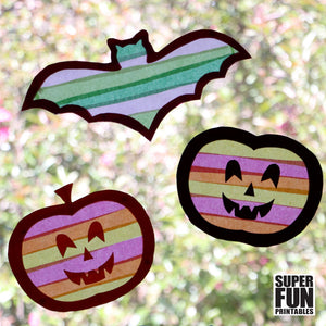 Pumpkin and Bat sun catchers for Halloween