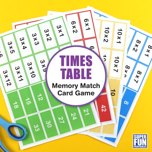 Times table memory match cards