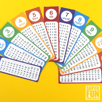 Times Table Bookmarks