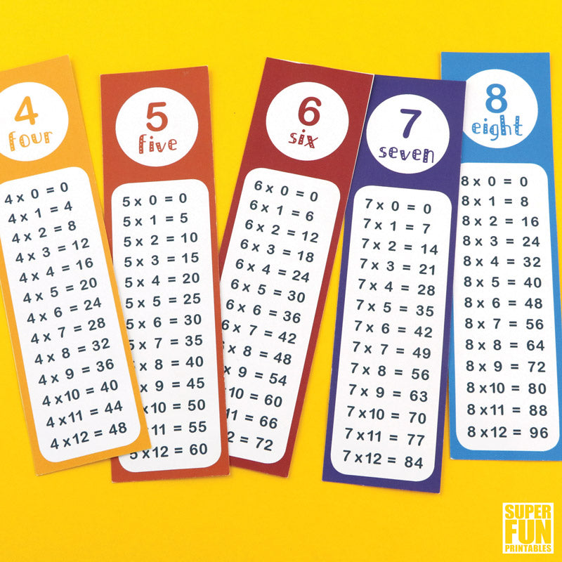 Times Table Bookmarks Super Fun Printables