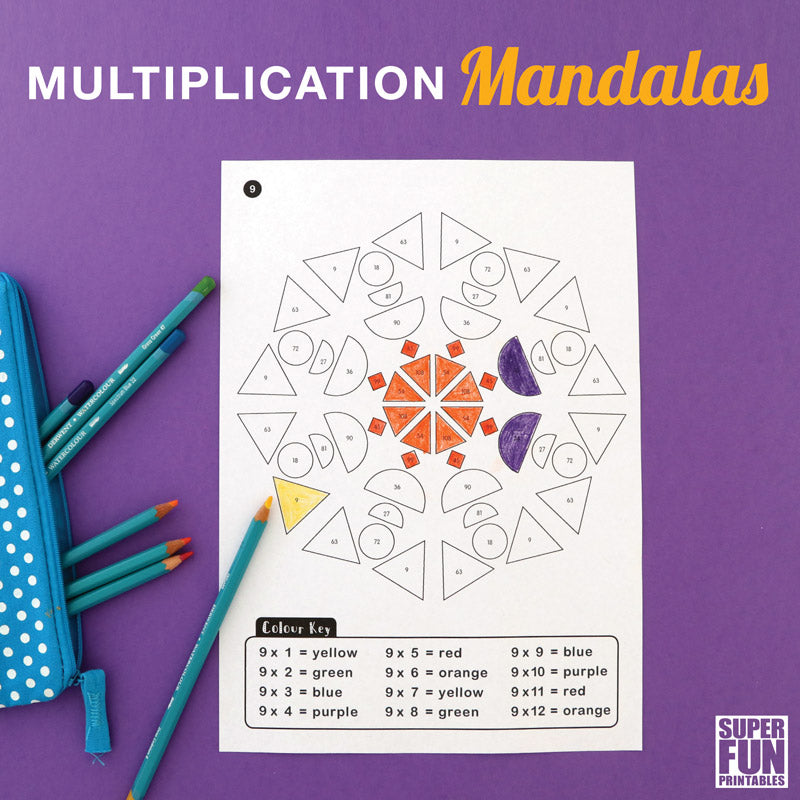 Multiplication mandalas – geometric shape colouring pages to help kids learn times tables