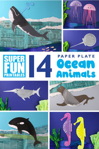 Create 14 gorgeous paper plate ocean animals with this ebook. Each animal also contains a page of instructions and interesting true facts about the creature #oceananimals #seacreatures #paperplates