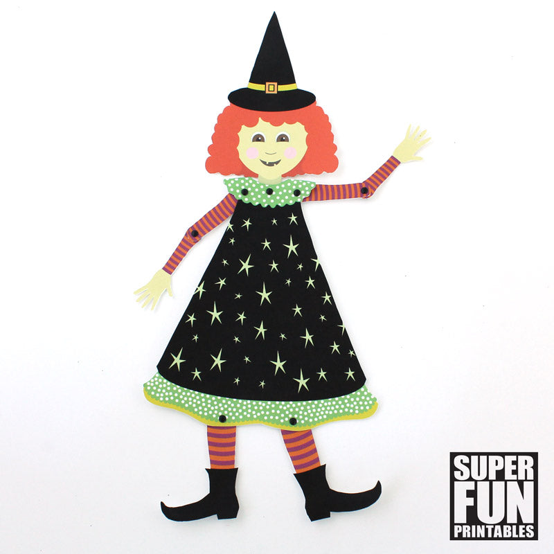 Paper Witch with moving arms and legs