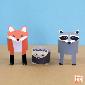 woodland animals paper play set