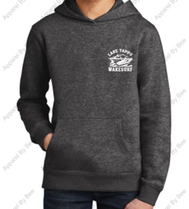 Lake Tapps Wake Surf Youth Hoodie Large BACK LOGO Small Chest logo