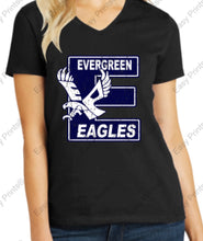 "Evergreen Primary Big ""E"" Women's V-Neck Tee"
