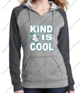 "NVI ""Kind is Cool"" Women's Lightweight Fleece Raglan Hoodie"