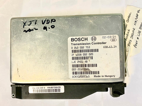 USED JAGUAR TRANSMISSION CONTROL MODULE PART #BOSCH 0-260-002-753. FITS JAGUAR XJ8 1998-2002.